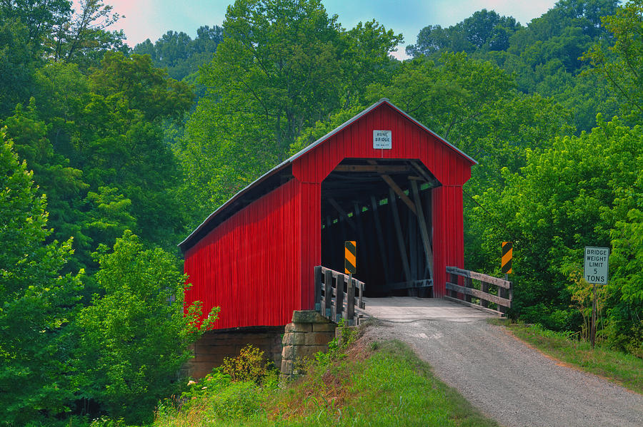 Ohio Photograph - Hune Covered Bridge by Jack R Perry