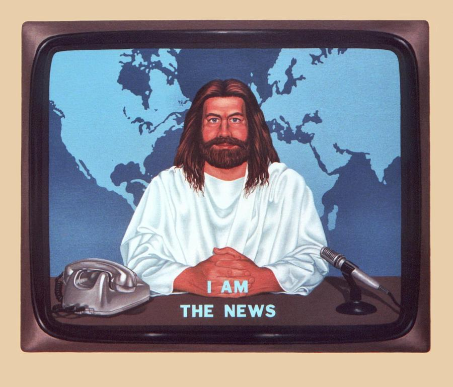 Jesus Painting - I Am The News by Michael Di Nunzio