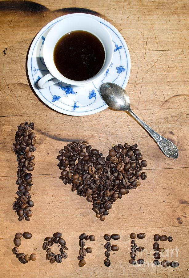 Bean Photograph - I Love Coffee by Sarka Olehlova
