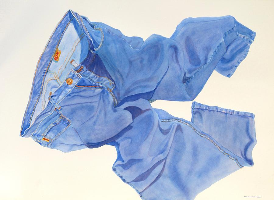 Blue Painting - Watercolor   I Love My Jeans  by Mary Ellen Mueller Legault