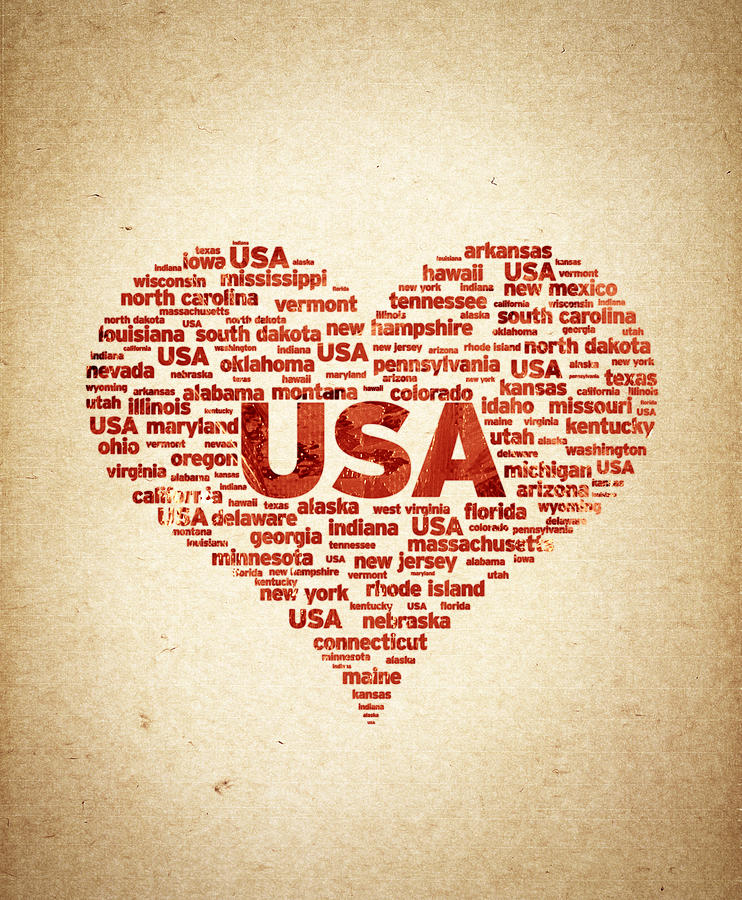 I Love Usa Digital Art - I Love Usa by Aged Pixel