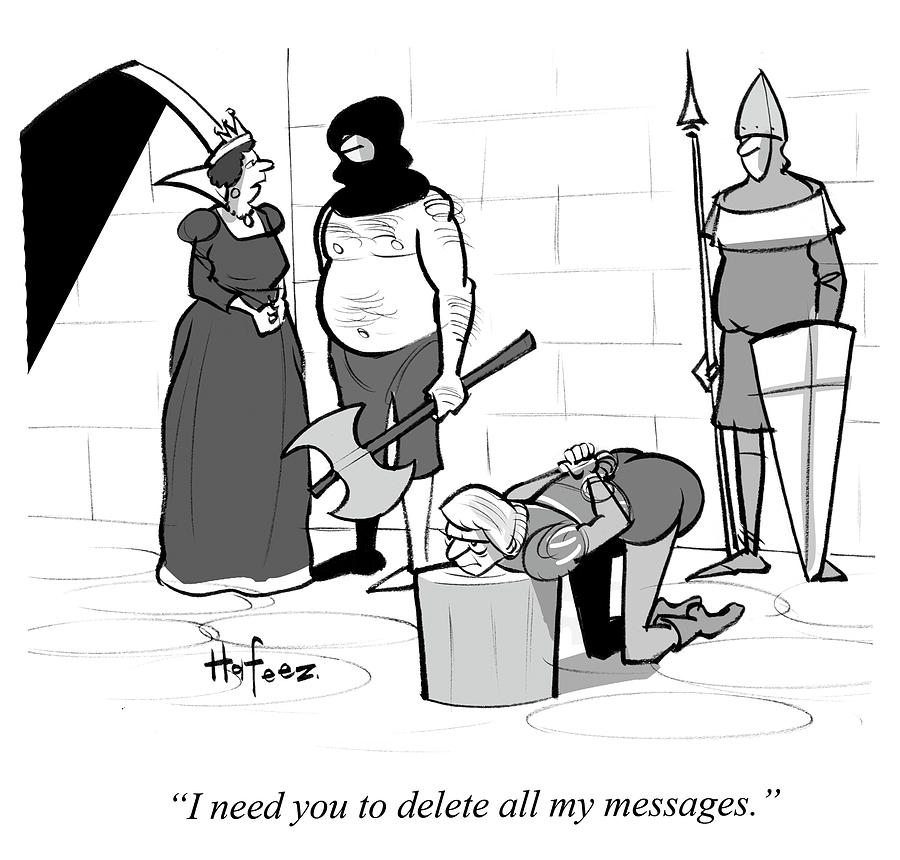 Cartoon Drawing - I Need You To Delete All My Messages by Kaamran Hafeez