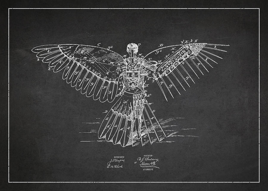 Icarus Digital Art - Icarus Flying Machine Patent Drawing Rear View by Aged Pixel