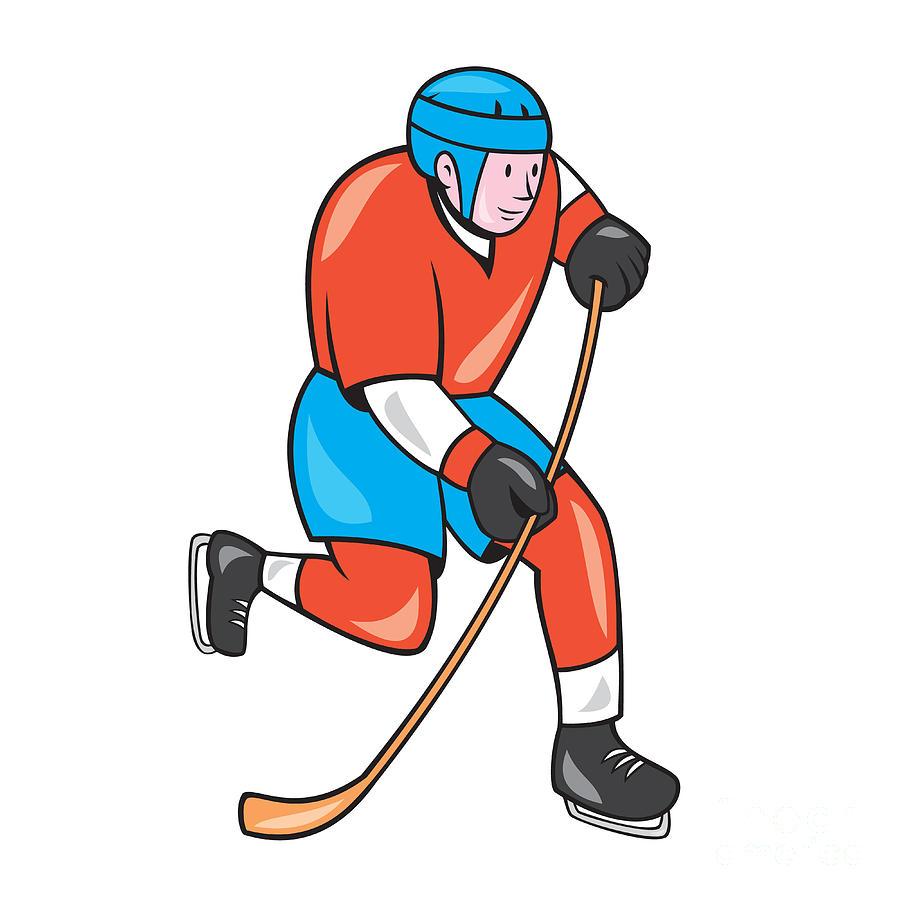 Ice Hockey Player With Stick Cartoon Digital Art By Aloysius Patrimonio