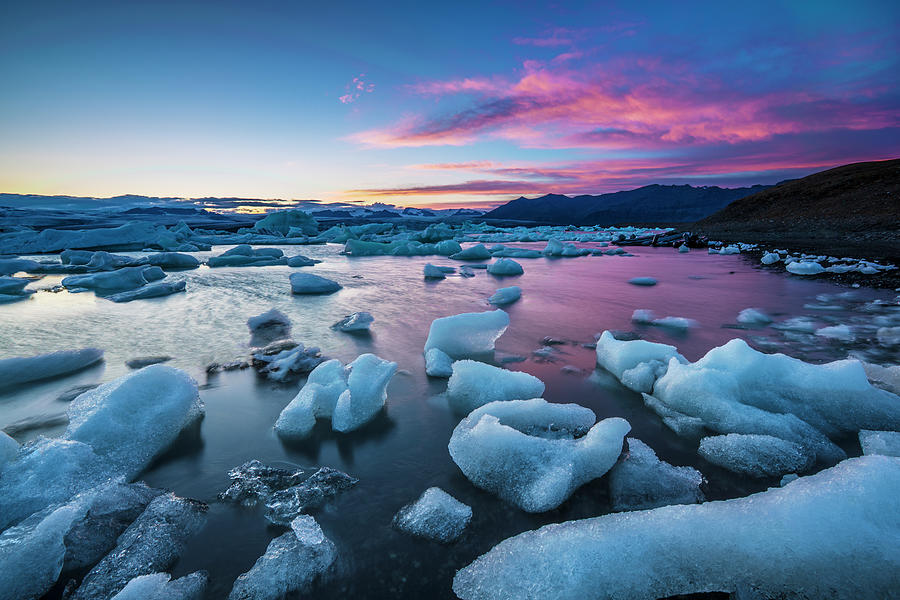 Icebergs Floating In The Jokulsarlon Photograph by Arctic-images
