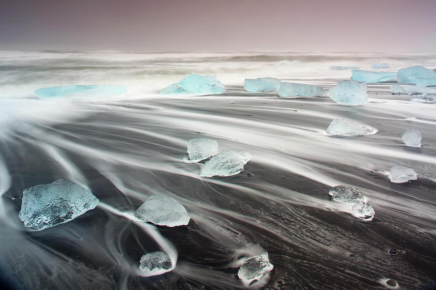 Icebergs On Volcanic Beach, Iceland Photograph by Travelpix Ltd