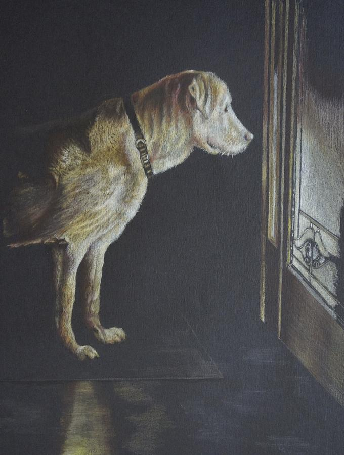 Dog Painting - Ill Be Waiting. by Mary Jo Jung