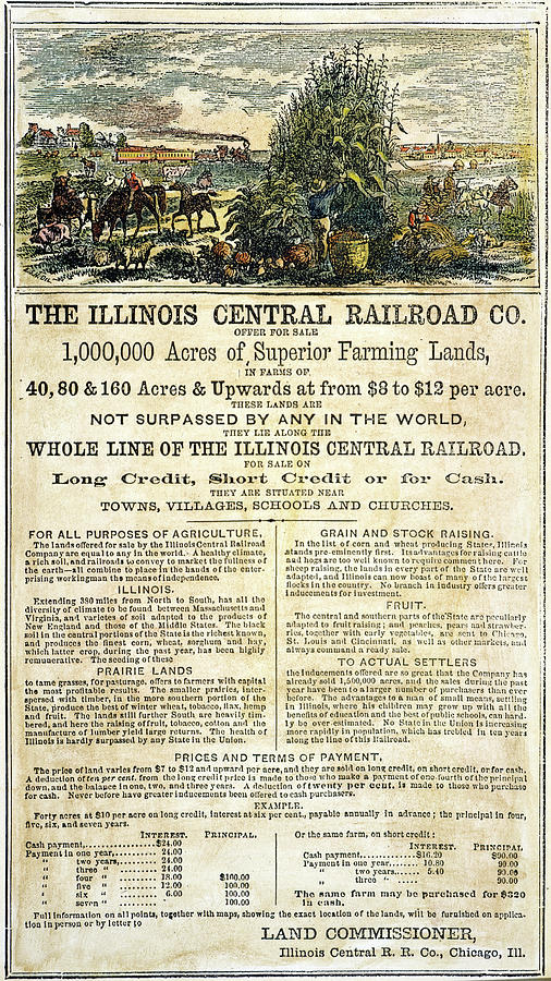 1864 Painting - Illinois Railroad Company by Granger