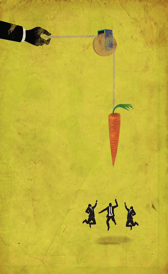 Achievement Photograph - Illustration Of Business People Jumping For Carrot by Fanatic Studio / Science Photo Library