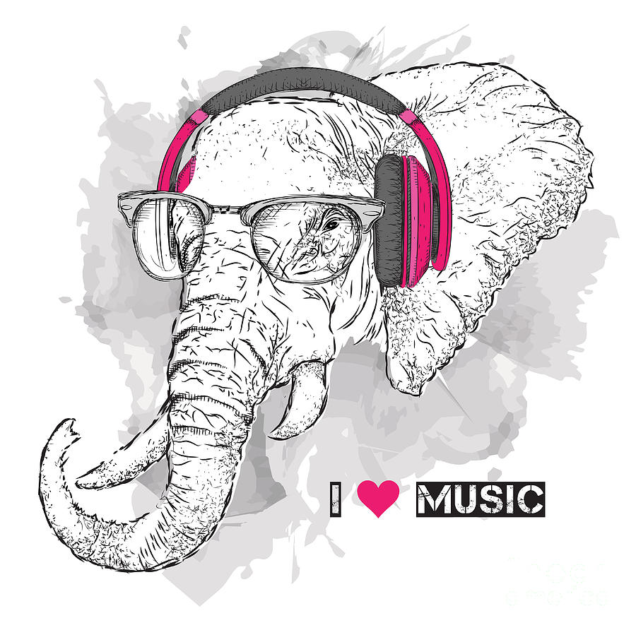 Headphones Digital Art - Illustration Of Elephant Hipster by Sunny Whale