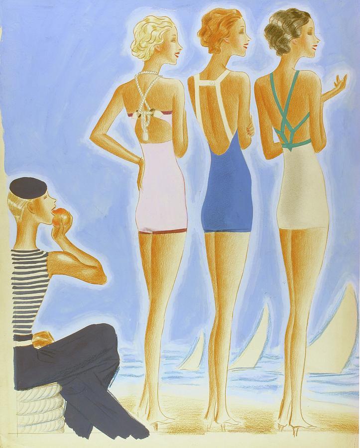 Illustration Of Models On A Beach Wearing Bathing Digital Art by Pierre Mourgue