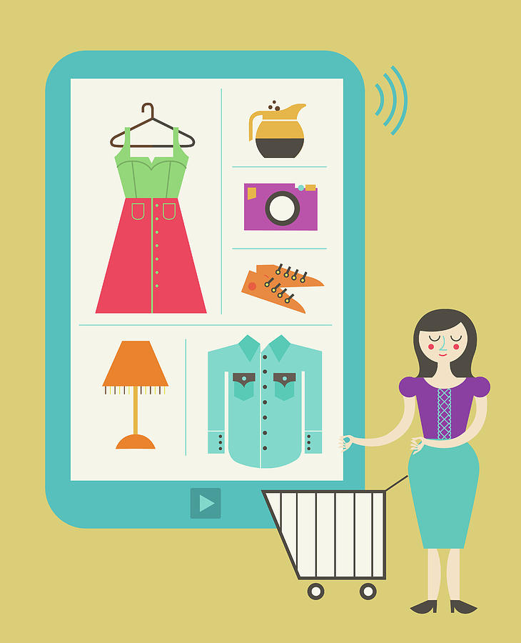 Buying Photograph - Illustration Of Online Shopping by Fanatic Studio / Science Photo Library
