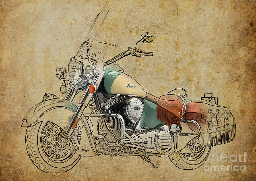 Indian Digital Art - Indian Chief Vintage 2012 by Drawspots Illustrations