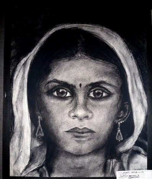 Indian Girl Drawing by Lauren  Pecor