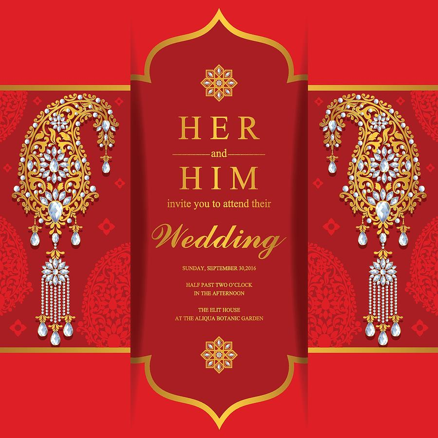 Indian Wedding Invitation Card Templates With Gold Patterned And Crystals On Paper Color Background By Olaf1741