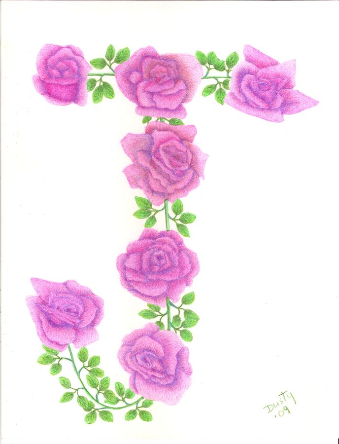Rose Drawing - Initial J by Dusty Reed