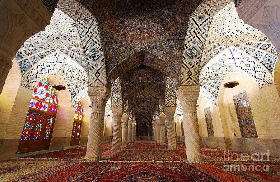 Shiraz Photograph - Interior Of The Winter Prayer Hall Of The Nazir Ul Mulk Mosque In Shiraz Iran by Robert Preston