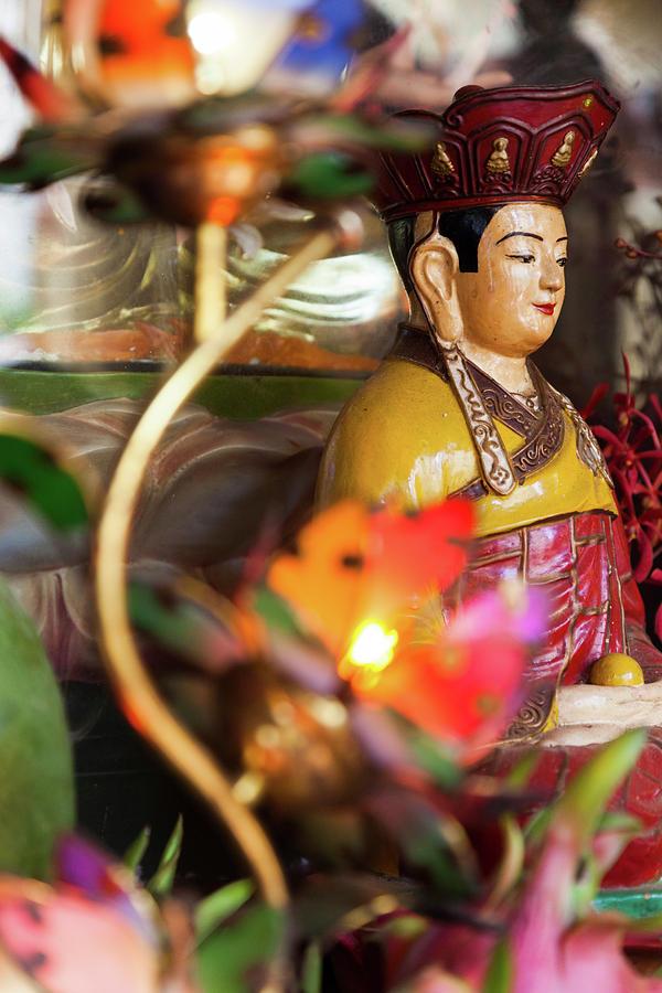 Vertical Photograph - Interiors Of Vihn Trang Pagoda, My Tho by Panoramic Images