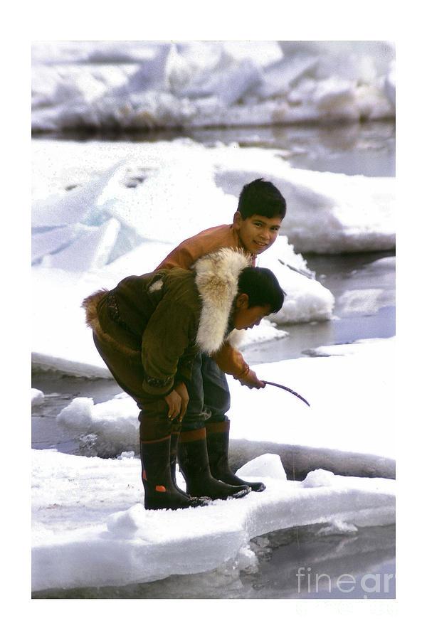 Inuit Photograph - Inuit Boys Ice Fishing Barrow Alaska July 1969 by California Views Mr Pat Hathaway Archives