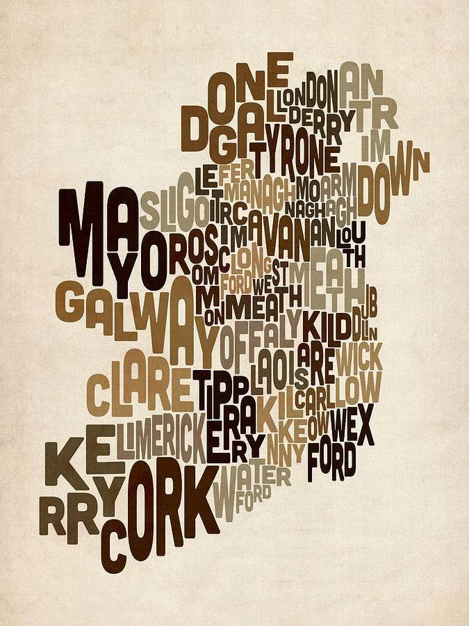 Irish Digital Art - Ireland Eire County Text Map by Michael Tompsett