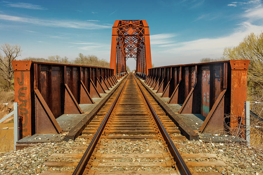 Horizontal Photograph - Iron Railroad Bridge Over Water, Texas by Panoramic Images