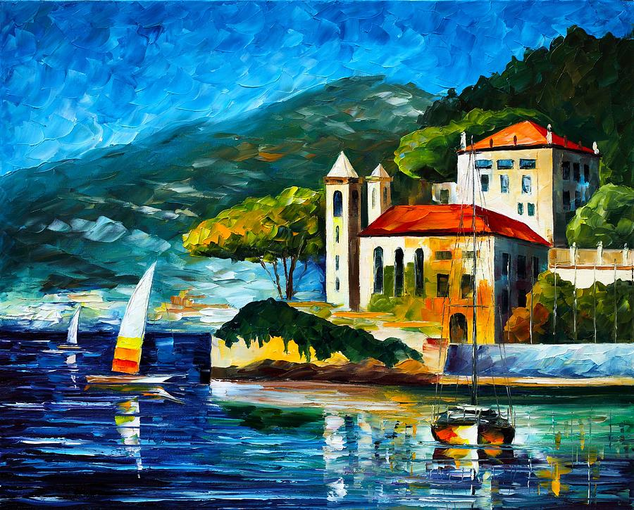 Afremov Painting - Italy Lake Como Villa Balbianello by Leonid Afremov