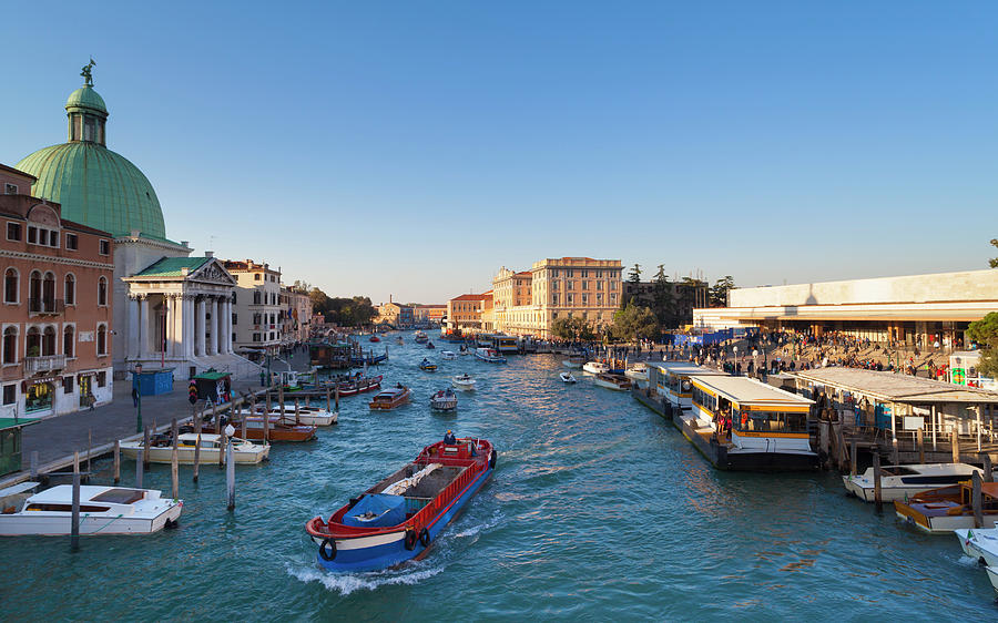 Italy, Venice, Morning Traffic On Canal Photograph by Westend61