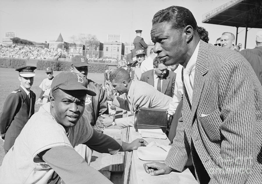 Nat King Cole Photograph - Jackie Robinson And Nat King Cole At Wrigley Field by The Harrington Collection