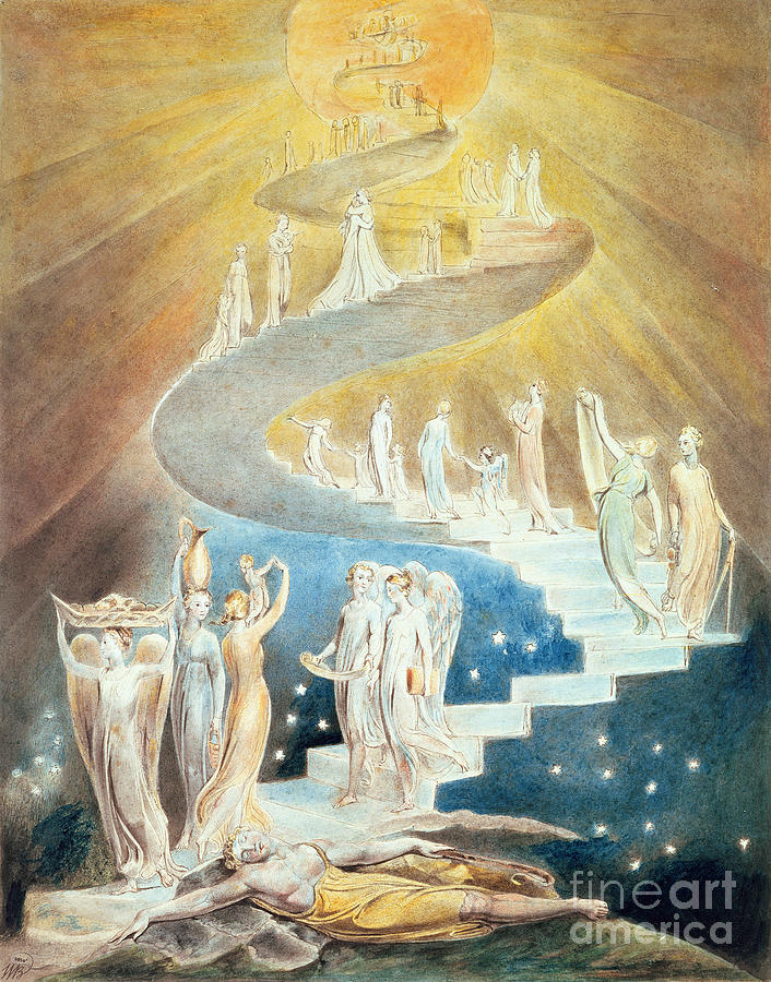 Angels Painting - Jacobs Ladder by William Blake