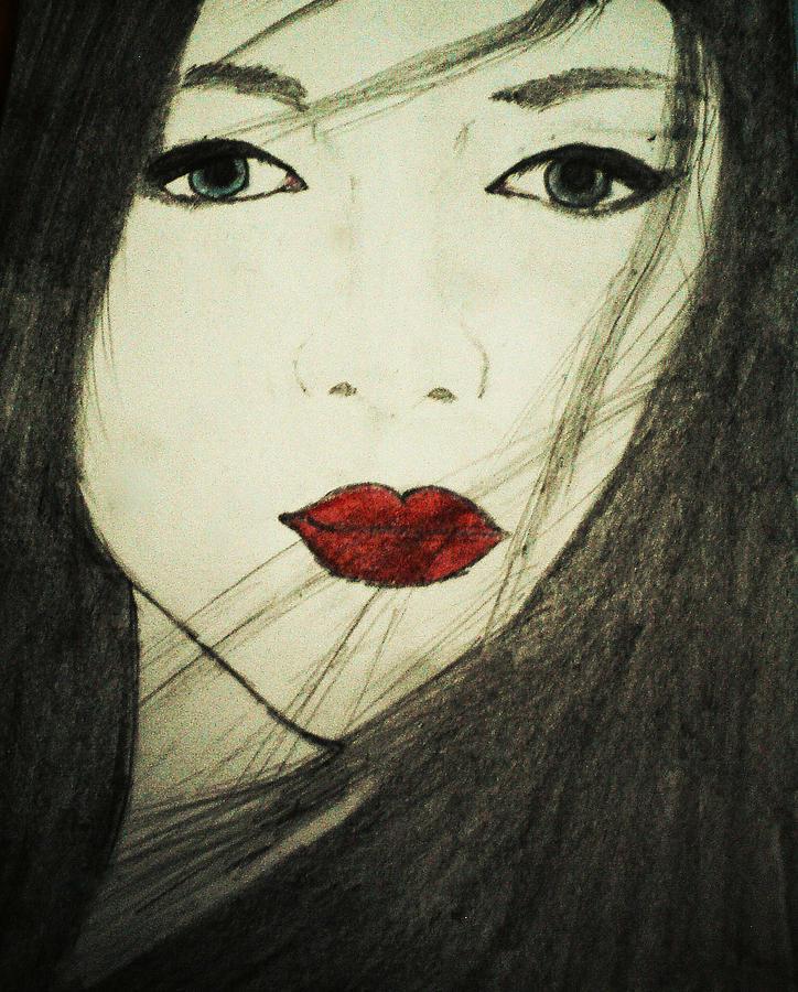 Geisha Drawing - Japanese Geisha by Shruti Prasad