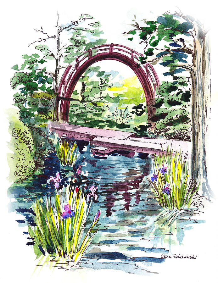 Bridge Painting - Japanese Tea Garden San Francisco by Irina Sztukowski