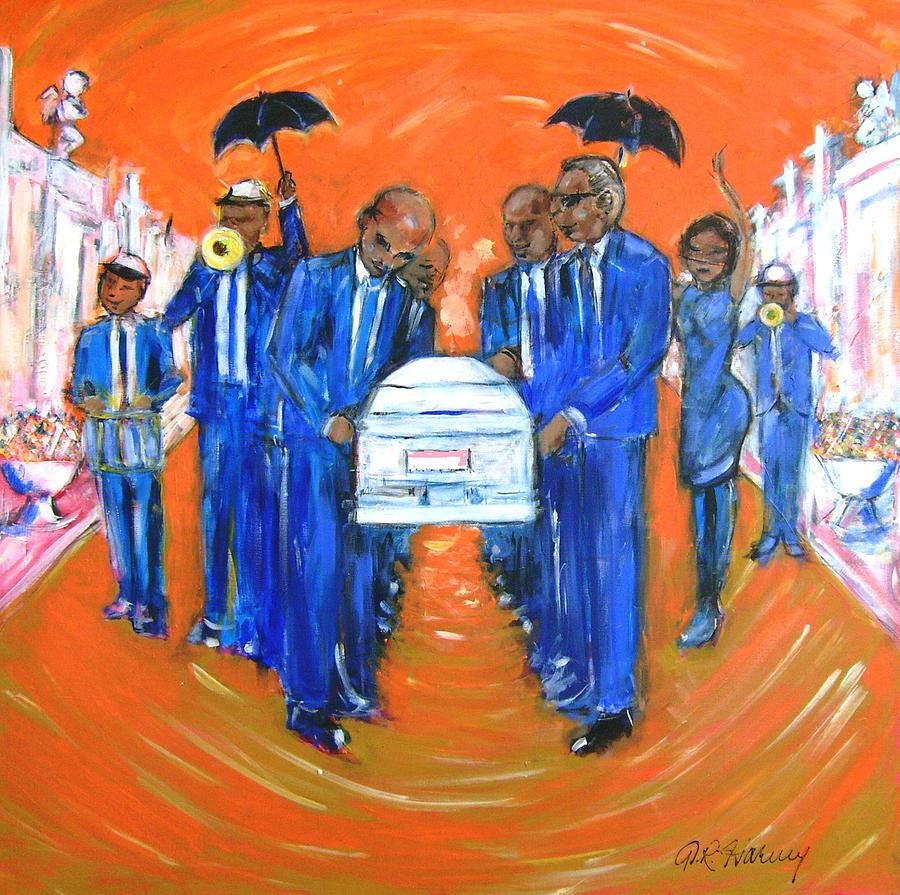 Blues Painting - Jazz Funeral by Aaron Harvey