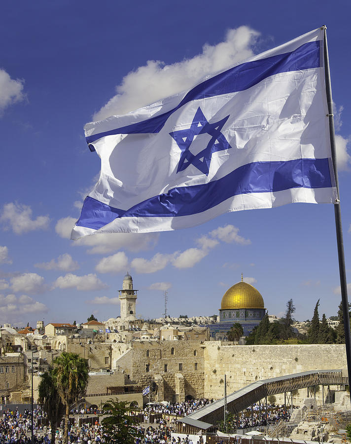Jerusalem Old City Western Wall With Israeli Flag Photograph by Stellalevi