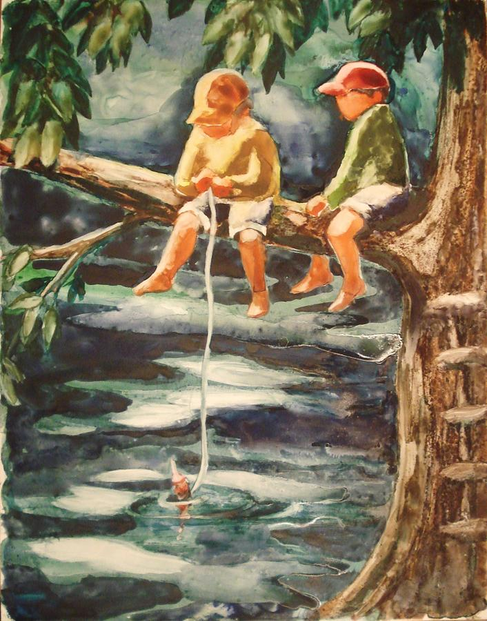 Boys Painting - Jes Fishin by Marilyn Jacobson