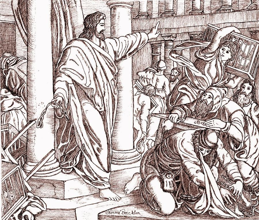 Religious Drawing - Jesus Cleansing The Temple by Norma Boeckler