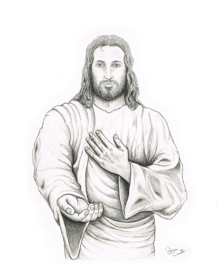 Jesus drawing jesus offering his hand by jaison cianelli