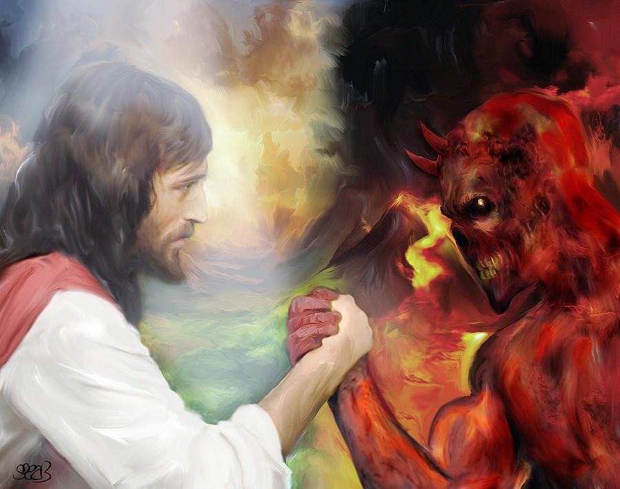 Jesus Vs Satan Painting By Mark Spears