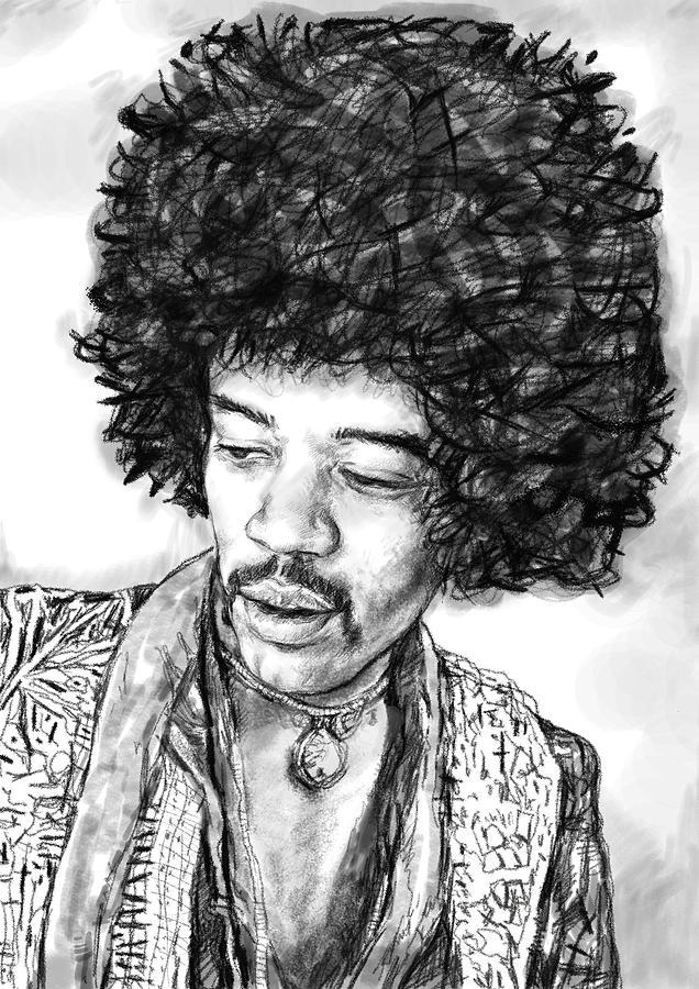Jimi Hendrix Art Drawing Sketch Portrait Painting By Kim Wang
