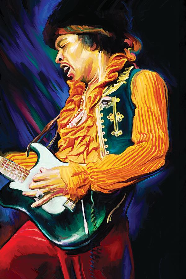 Jimi Hendrix Artwork Painting By Sheraz A