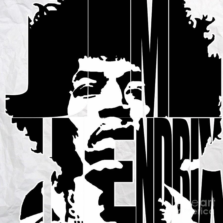 Jimi Hendrix Typography Mixed Media By Marvin Blaine