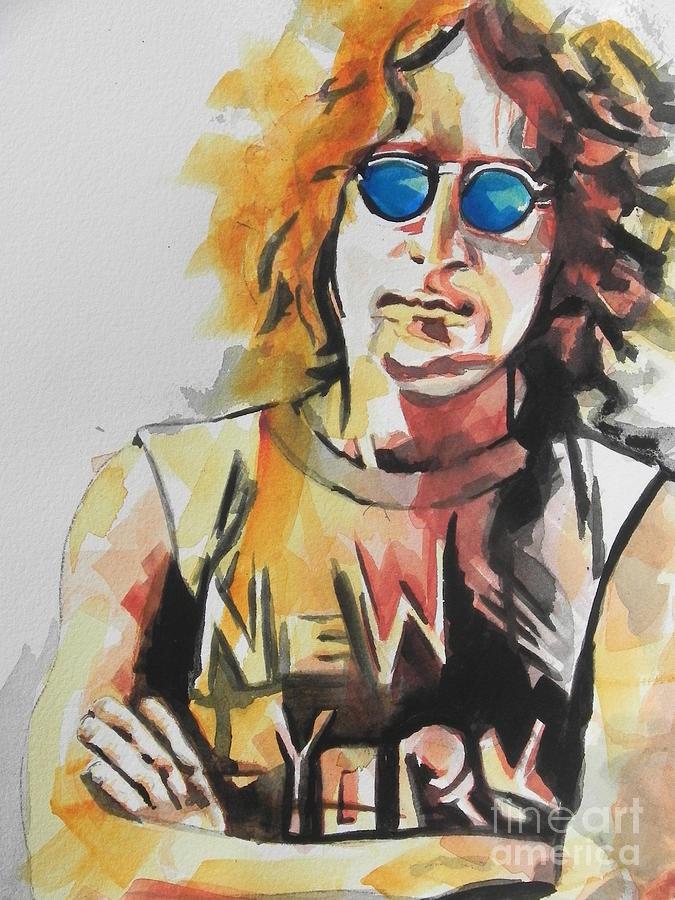 Watercolor Painting Painting - John Lennon 04 by Chrisann Ellis