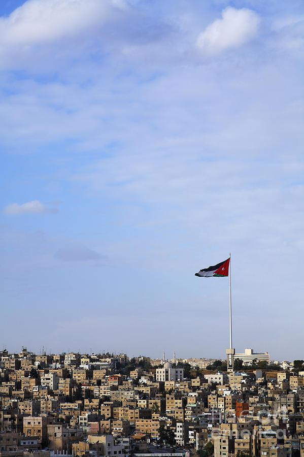 Flag Photograph - Jordanian Flag Flying Over The City Of Amman Jordan by Robert Preston