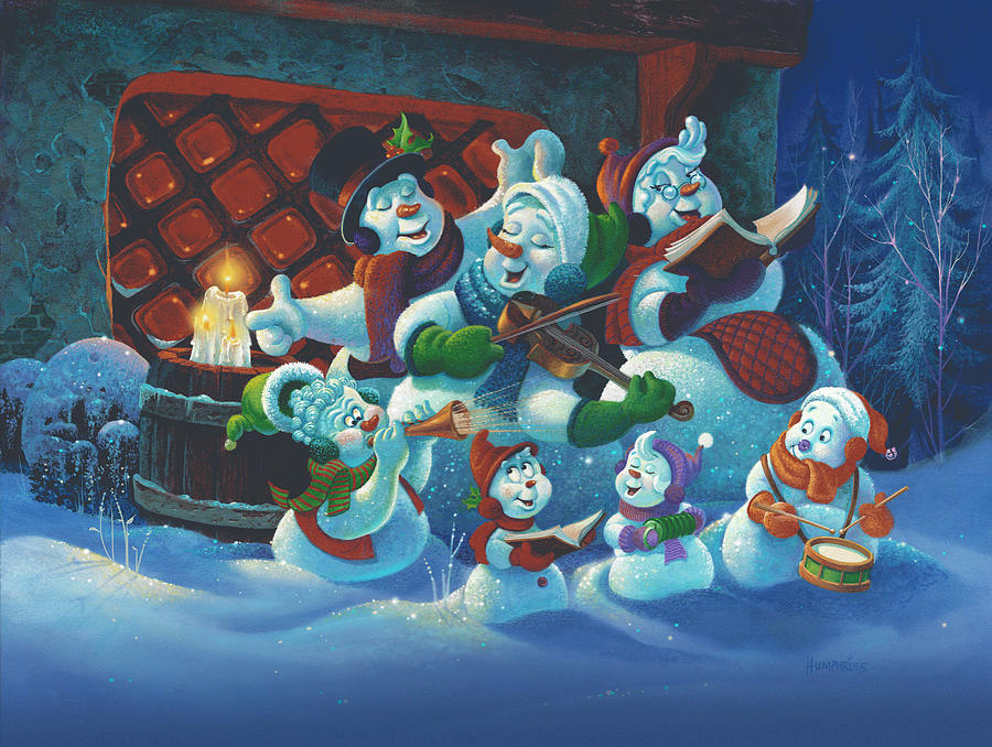 Snowmen Painting - Joy To The World by Michael Humphries