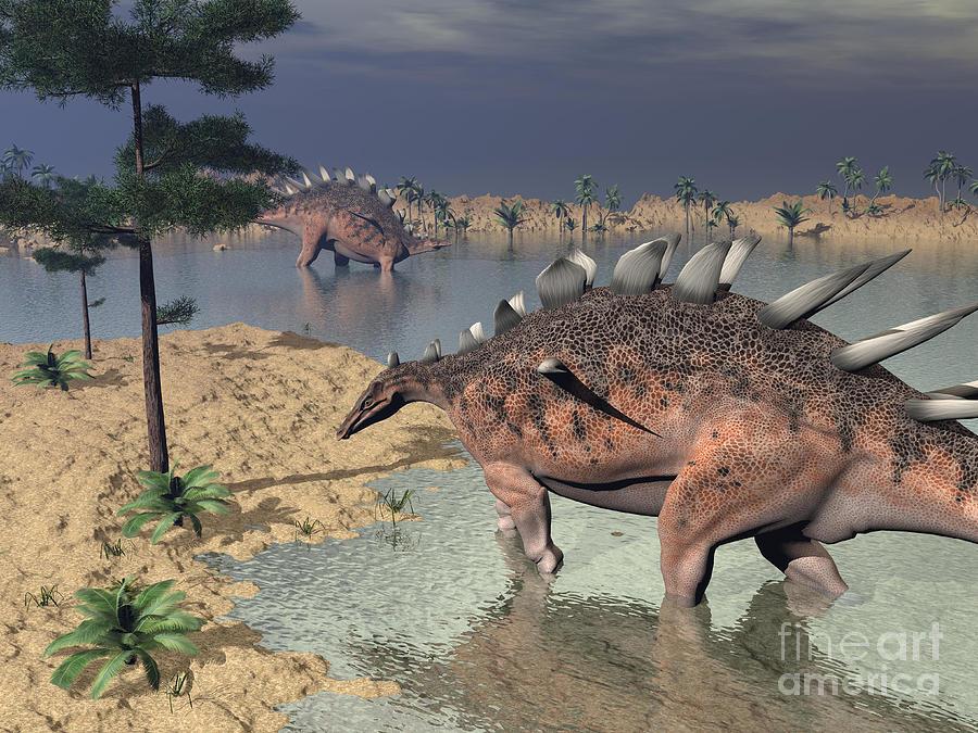 Kentrosaurus Dinosaurs Walking Digital Art