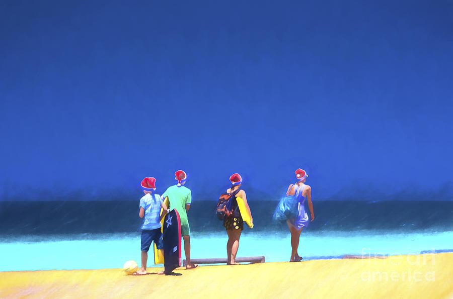 Beach Photograph - Kids in santa hats at beach by Sheila Smart Fine Art Photography
