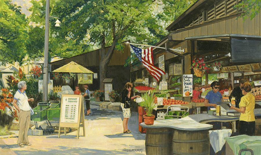 Kirkwood Painting - Kirkwood Farmers Market American Flag by Don  Langeneckert