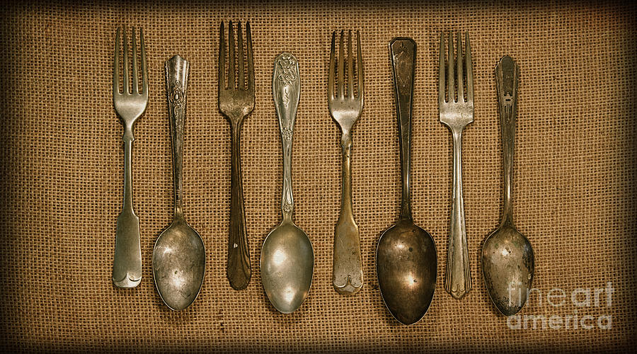 Kitchen Dining Utensils Of Silverware And Flatware With