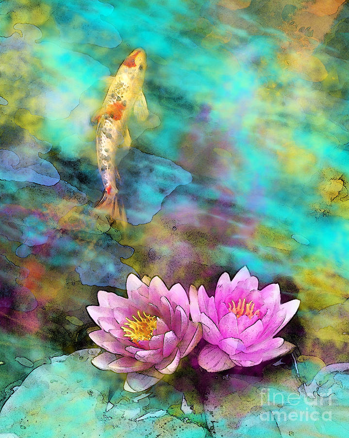 Fish Ponds Photograph - Koi morning mist by Gina Signore