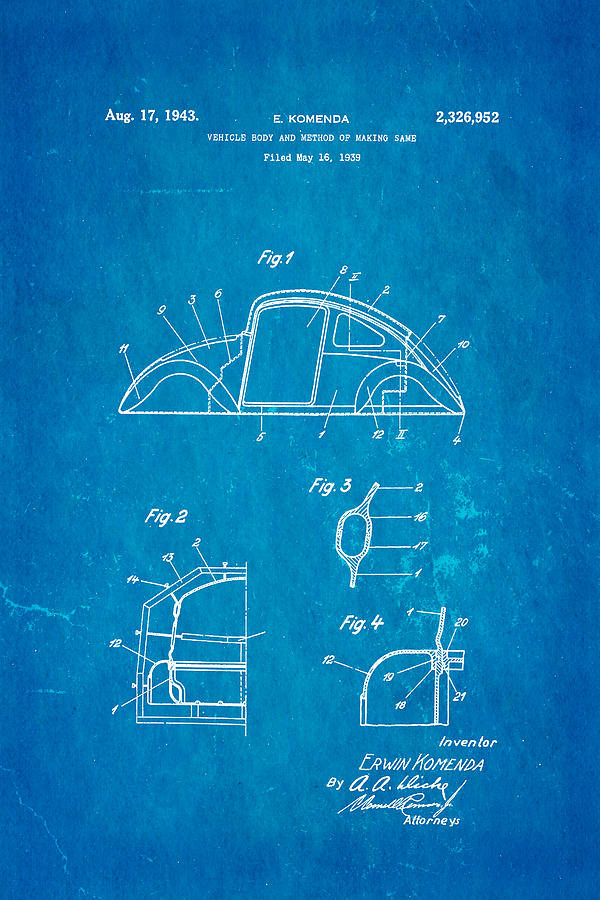 Automotive Photograph - Komenda Vw Beetle Body Design Patent Art 1942 Blueprint by Ian Monk