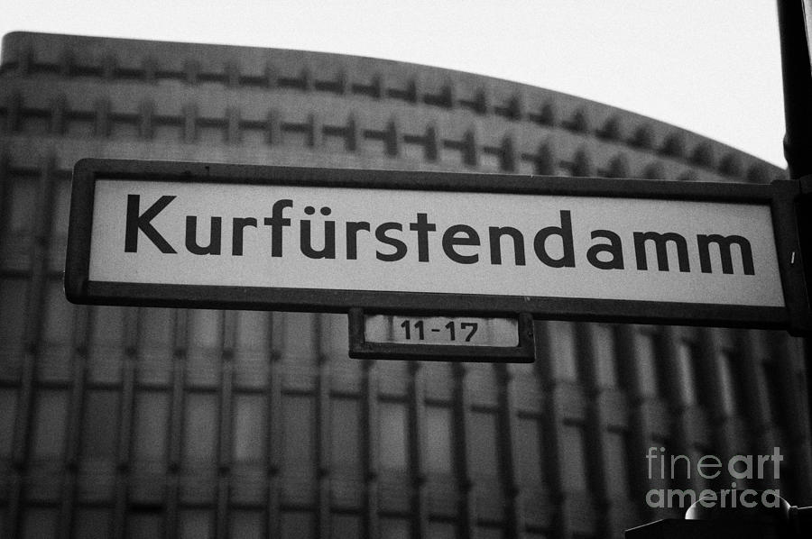Berlin Photograph - Kurfurstendamm Street Sign Berlin Germany by Joe Fox
